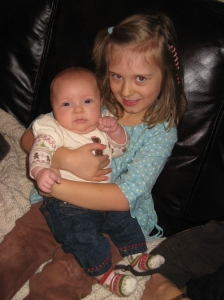 Cousin Meadow holding Bailey